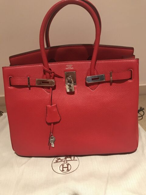 Hermes Birkin 35 (style) Red Bag with Silver Hardware Togo leather ... 0255e908a9cbd