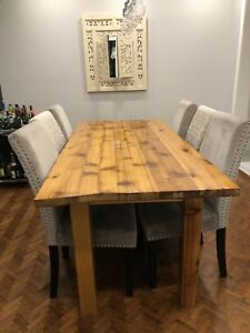 Reclaimed wood dining table with 6 chairs