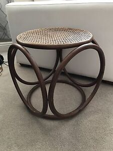 Bent Rattan and Wicker Side Table/ Stool