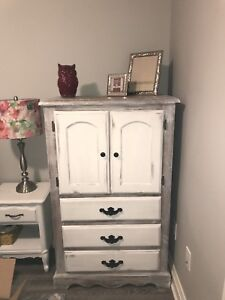 Refinished tall boy dresser