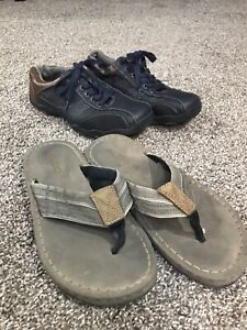 Men's size 8 lace up shoes and Aldo flip-flops