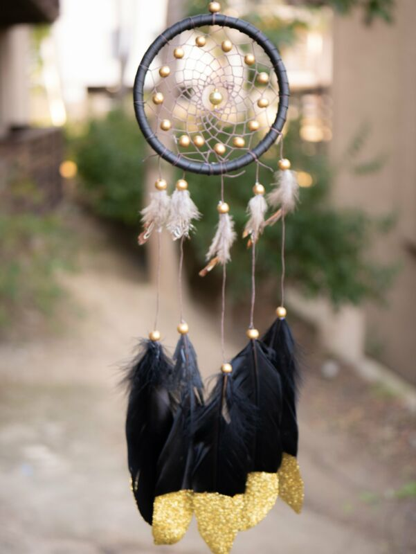 Catori Dark Gray Native American Dreamcatcher With Gold Beads and Black Feathers
