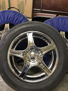 """16"""" Chrome rims and tires"""