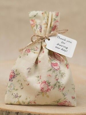Ivory Pink Tea Rose Wedding Favour Bags Shabby Chic Personalised Vintage
