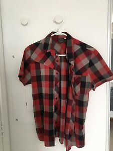 Short sleeve red, grey and black checkered collard shirt