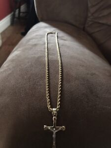 10k Gold Rope Chain with two tone pendant