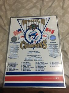 1992 World Series Champions Framed