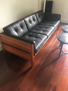 Vintage teak and leather sofa