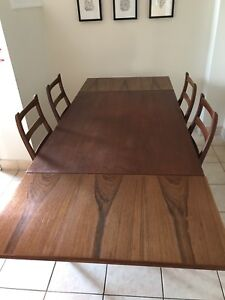 Vintage MCM teak table with extension + 4 chairs