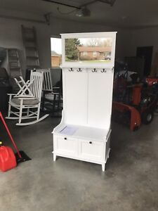 Entryway Hall Stand, with storage, hooks and mirror
