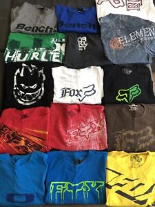 Size XL T-shirts (Bench, RDS, Oakley, Element, Hurley, and Fox)