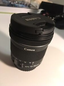 Canon wide angle lens EFS 10-18mm f/4.5-5.6 IS STM (used)