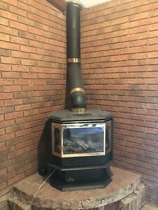 Vintage cast iron gas fireplace