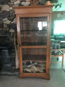 Antique glass teak cabinet
