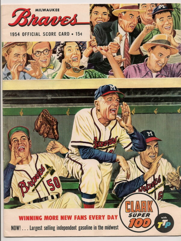 1954 Milwaukee Braves-Giants Program Spahn Pitches & Hits to Win NICE!!