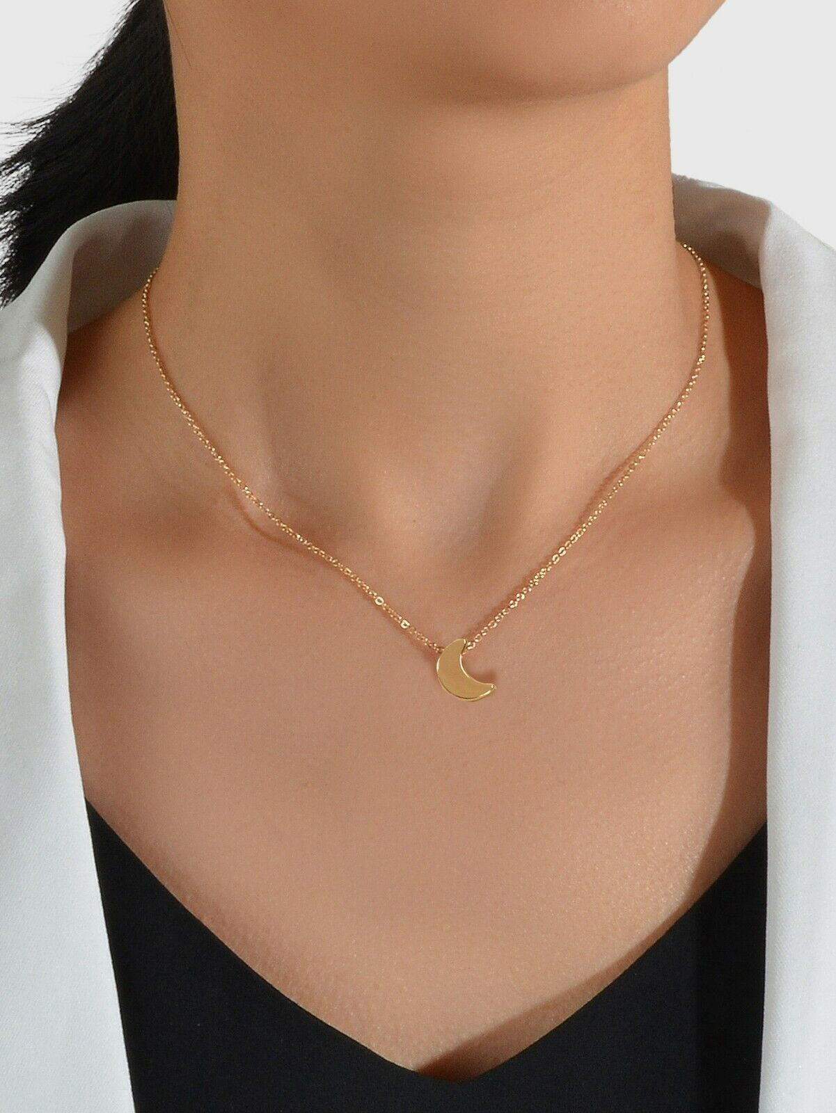 Jewellery - 90s Gold Silver Color Chain With Tiny Moon Charm Necklace Jewellery Gifts Choker
