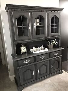 Refinished China cabinet in dark grey