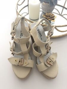 8721e029b79 Ladies shoes wedges size 37 nude beige gold buckle brand new ...