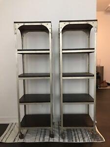 Pair - Metal Industrial Style Shelving Racks