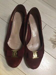 Authentic Ferragamo suede heels size 8.5
