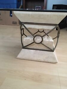 Stone base glass top coffee table