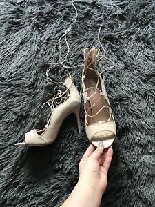 Nude lace up heels never worn