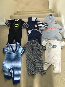 12 3-6 month long sleeved rompers