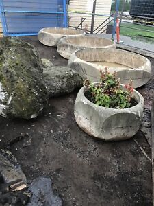 Planters with water fountain rocks and 2 pumps