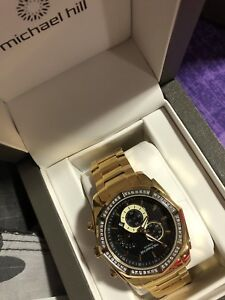 Micheal Hill chronograph watch with 1/2 Tw carrot diamonds Gold