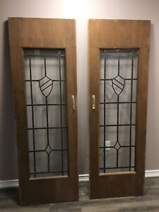 Antique Leaded glass French Doors