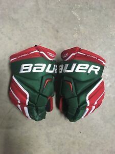 Green and Red Hockey Gloves