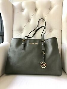 9ddf9cb33ba5 MICHAEL KORS Jet Set Travel Olive Saffiano Leather Tote shoulder bag ...