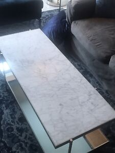 Marble and glass coffee table West Elm