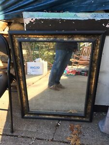 Black and Gild Trimmed Mirror