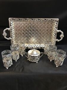 Hand made silver & white gold plated Tea sets