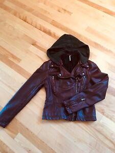Free People Vegan Leather Moto Jacket, Size 4