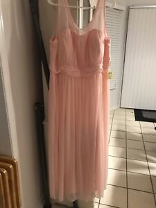 Brand new peach coloured chiffon dress