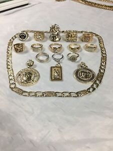 14 Gold Rings 3 pendents 1 chain