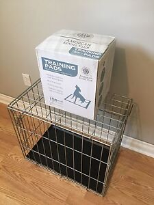 Small Wire crate and American Kennel Club Training pads 150ct