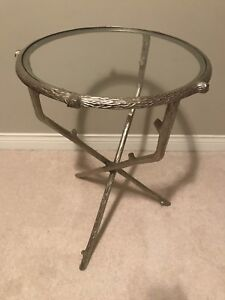 Round Metal & Glass Side Table