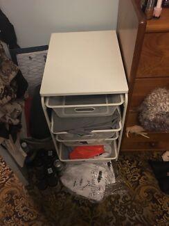 White storage shelves