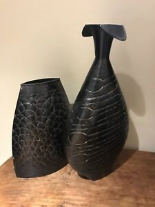 New, 2 different exotic looking black metal vases
