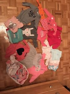 Baby girl tops and PJs - $30 for everything between 3-6 months