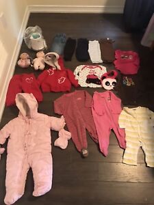 BABY GIRL CRIB SET,BOTTLE WARMER,CLOTHES/SNOWSUIT TOYS