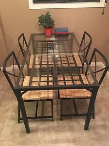 Steel/ Glass table and 4 chairs