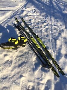 Kids x-country skis fisher and boots and poles