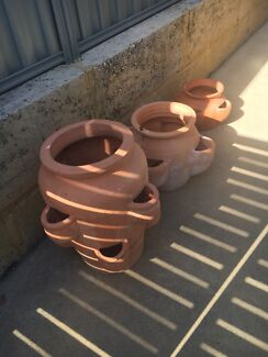 SET OF 3 LARGE TERRACOTTA STRAWBERRY/HERB POTS