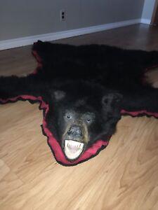 5' black bear rug
