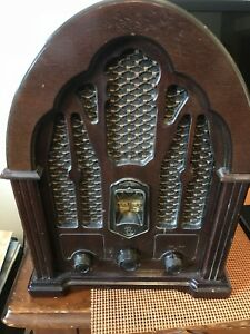 Vintage GE AM/FM radio replica 1930's Cathedral Style Model