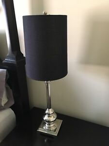 Set of 2 Tall Silver Table Lamps